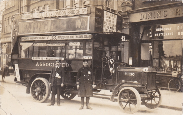 The 43 bus: Muswell Hill to London Bridge, B-type bus 1916