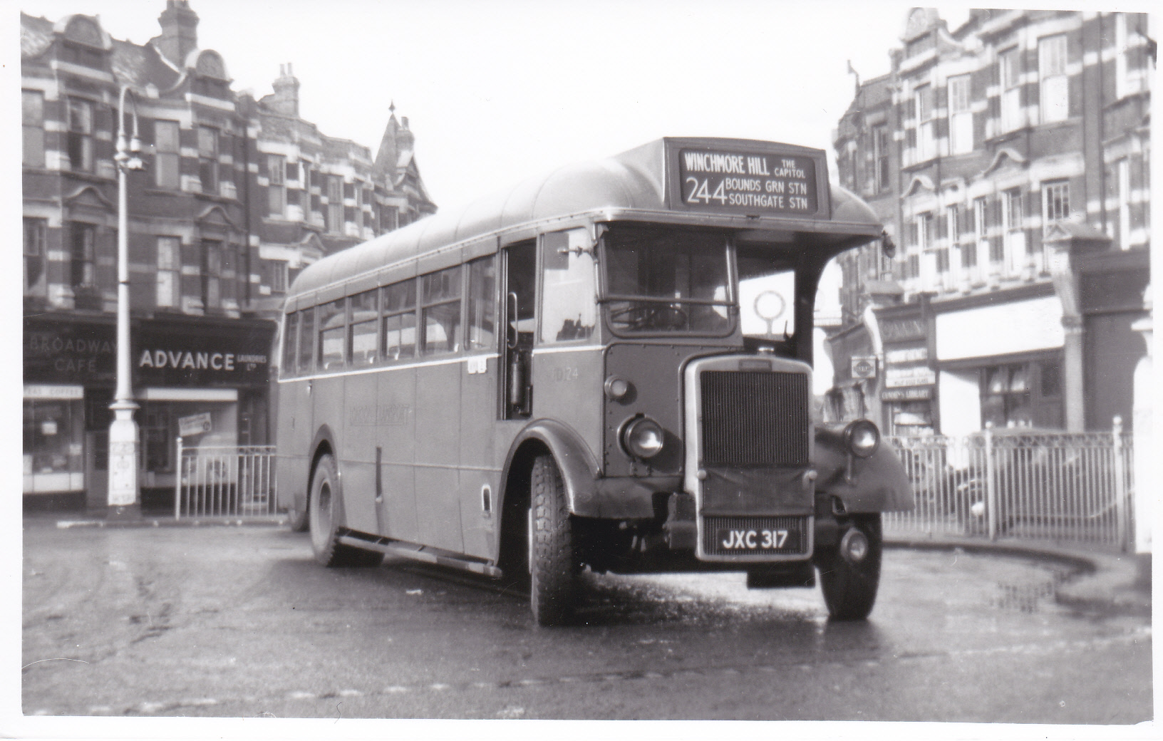 Bus 244 TD 24 Jan 1947 Muswell Hill to Kingston 1953