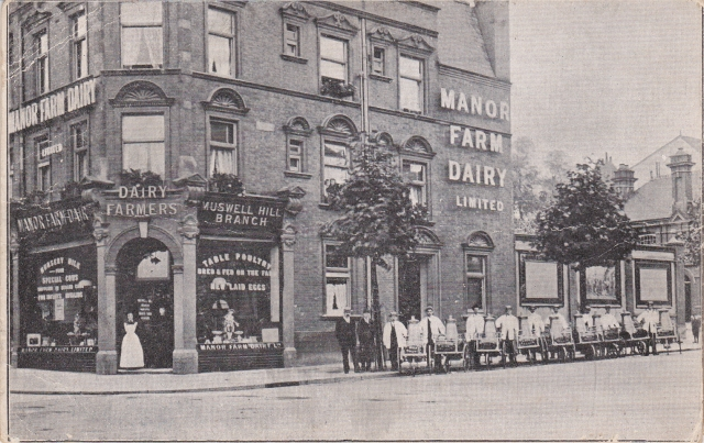 Manor Dairy, corner of Muswell Hill Broadway + Queens Ave 1907