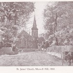 Muswell Hill Broadway in 1860 with St James Church