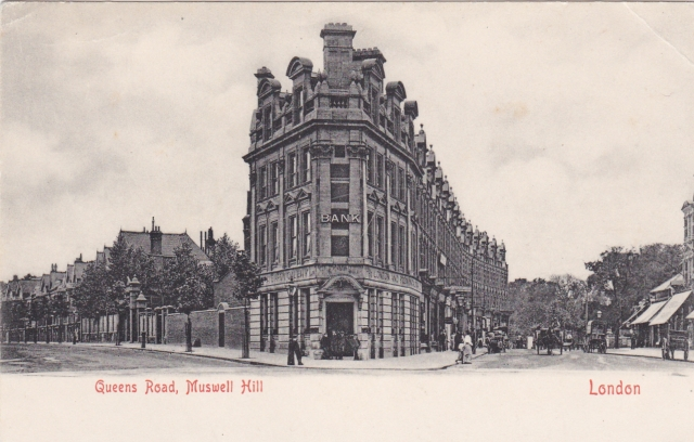Queens Road (now Avenue) & Colney Hatch, London + Provincial Bank, circa 1898