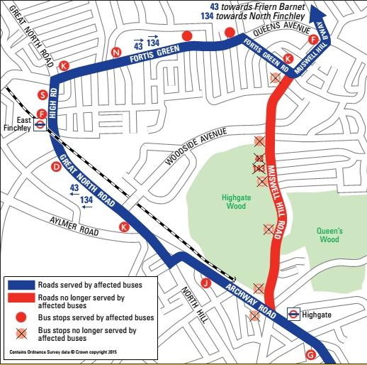 Bus diversions map
